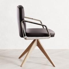 Chaise de conférence piétement bois massif - Lead - 141 090 - Las Mobili