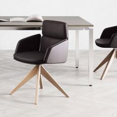 Chaise de conférence avec piétement bois et accoudoirs cuir - Lead - 141 096