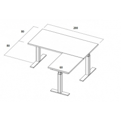 Table électrique d'angle assis-debout - 200x160x80x60
