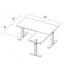 Table électrique d'angle assis-debout - 180x160x80x60