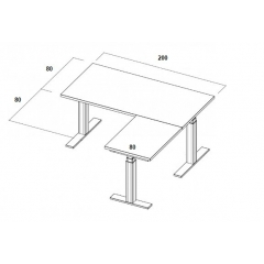 Table électrique d'angle assis-debout - 200x160x80x80
