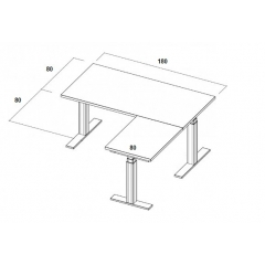 Table électrique d'angle assis-debout - 180x160x80x80