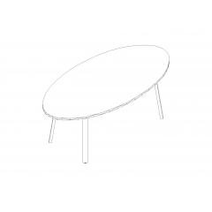 Table ovale L. 200 x P. 100 x H. 74cm - Ogi A  - MDD  - PLF12E