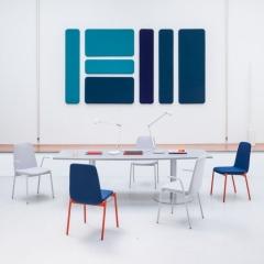 Table tonneau L. 240 x P. 100/80 x H. 74cm - Piétement colonne - MDD - ST24