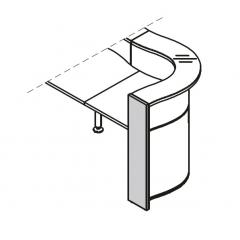 Pied droite haut L. 21,6 x P. 2,8 x H. 110,3cm