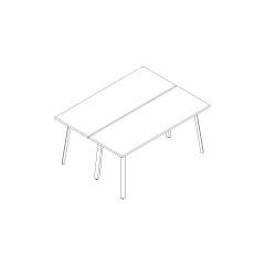 Bureaux bench Ogi A, L. 160 x P. 121 x H. 74cm, départ