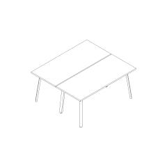 Bureaux bench Ogi A, L. 160 x P. 141 x H. 74cm, départ
