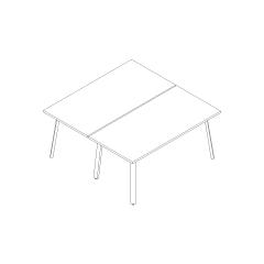 Bureau bench Ogi A, L. 160 x P. 161 x H. 74cm, départ