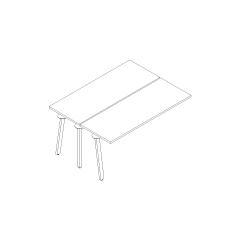 Bureau bench Ogi A, L. 160 x P. 121 x H. 74cm, suivant