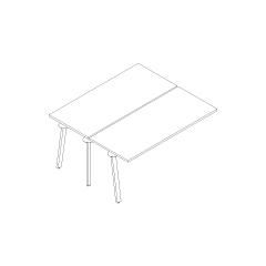 Bureaux bench Ogi A, L. 160 x P. 141 x H. 74cm, suivant