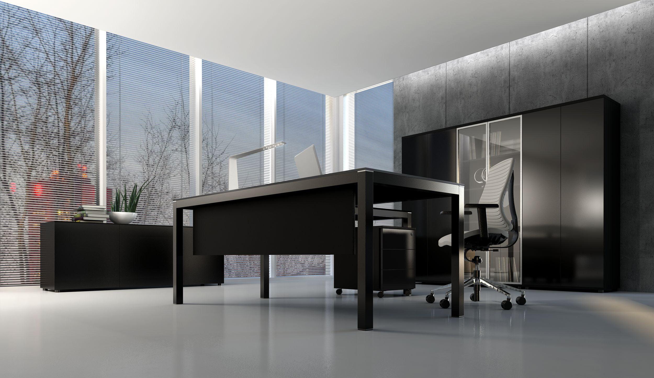 Bureau direction plateau verre noir - Impuls MDD